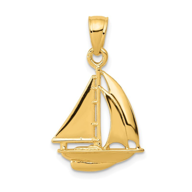 Quality Gold 14k Polished Open-Backed Sailboat Pendant