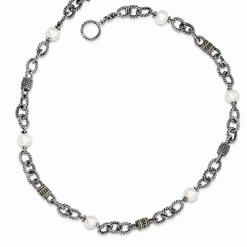 Sterling Silver w/14k FW Cultured Pearl Necklace