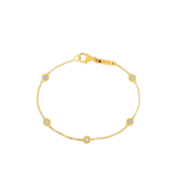 18Kt Gold Bracelet With Alternating Diamond Stations