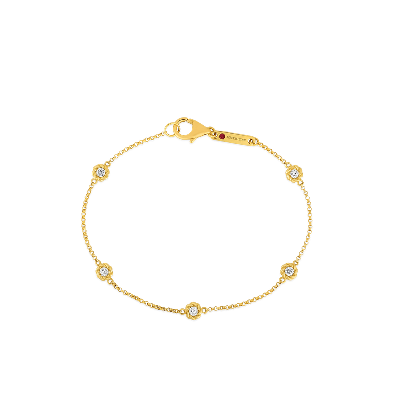 Roberto Coin Bracelet With Alternating Diamond Stations