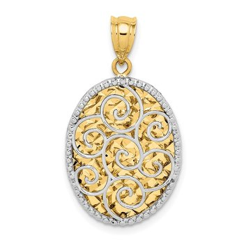14K Two-tone Polished Diamond-cut Hollow Oval Pendant