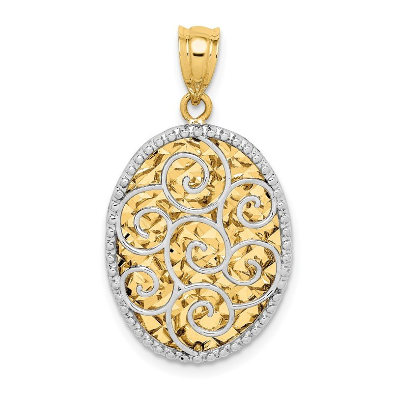 Quality Gold 14K Two-tone Polished Diamond-cut Hollow Oval Pendant