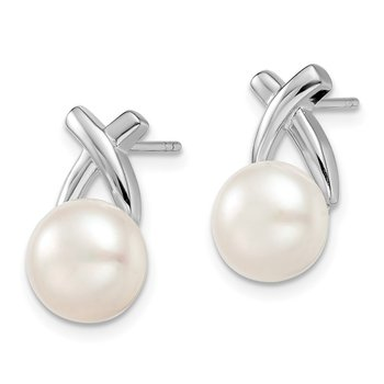 Sterling Silver Rh-plated 8-9mm White FW Cultured Pearl Post Earrings