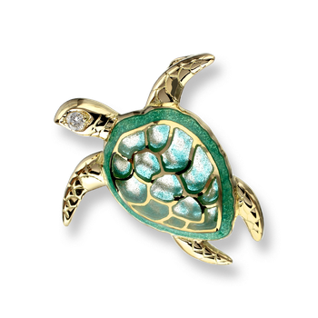 18 Karat Gold Turtle Necklace -Green. Diamonds.