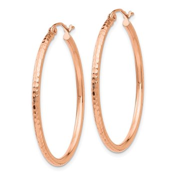 14k Rose Gold Polished Lightweight Large Diamond-cut Tube Hoop Earrings