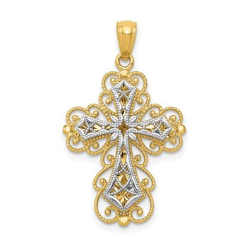 14K Two-tone Gold Polished 2 Level Filigree Cross Pendant