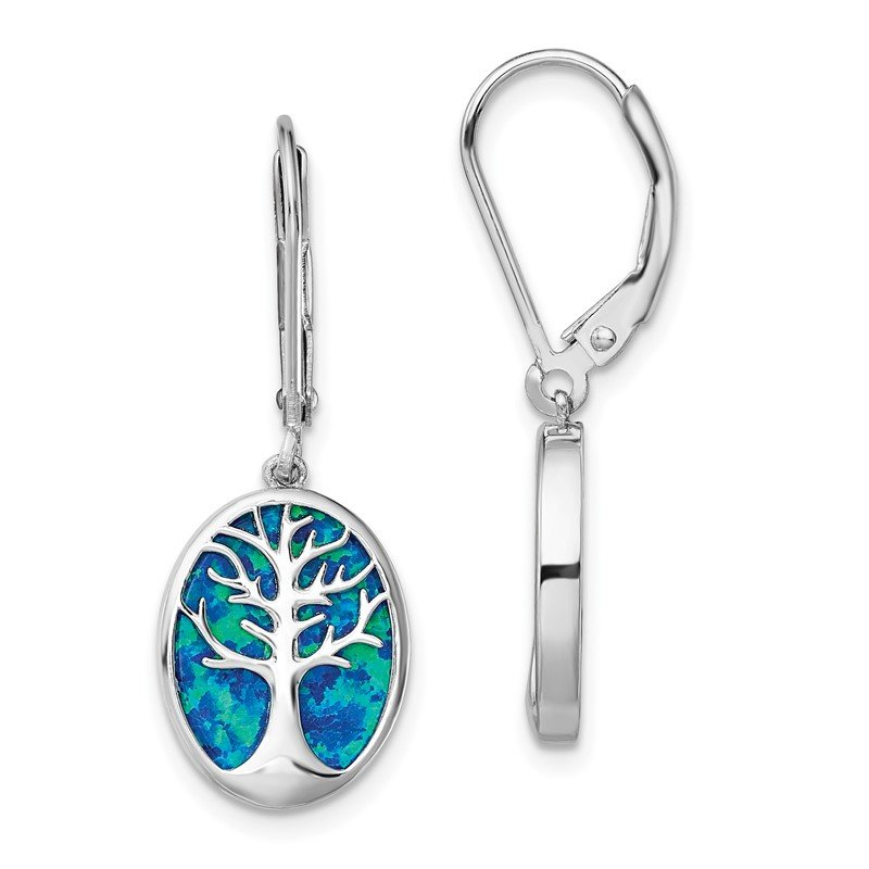 Quality Gold Sterling Silver Rhod-plated Creat Opal Tree of Life Leverback Earrings