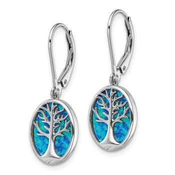 Sterling Silver Rhod-plated Creat Opal Tree of Life Leverback Earrings