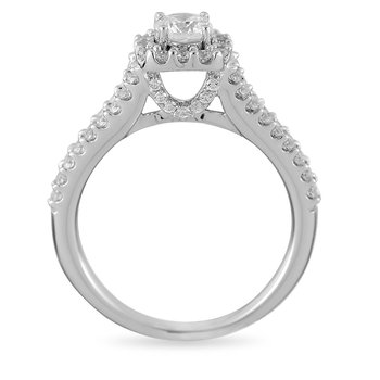 14K WG Diamond Engagement Ring With CZ Center