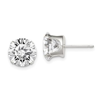 Sterling Silver 9mm Round Snap Set CZ Stud Earrings