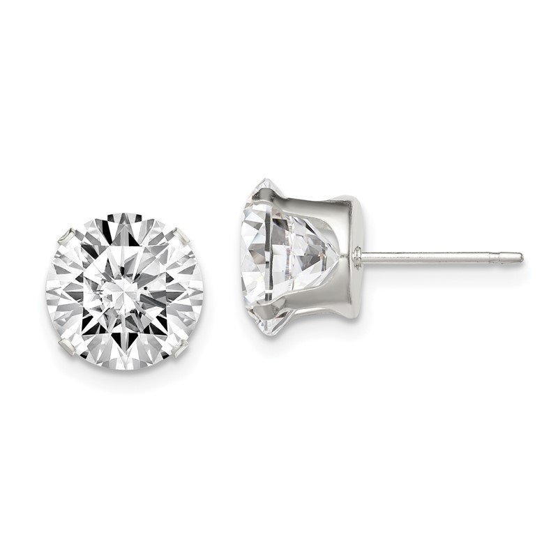 Quality Gold Sterling Silver 9mm Round Snap Set CZ Stud Earrings