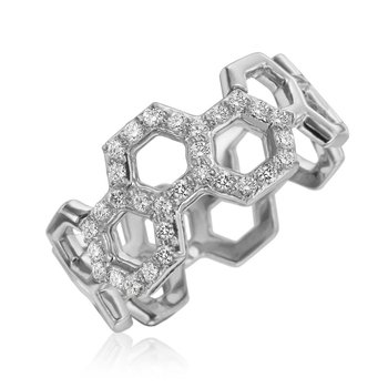 "Honeybee ""B"" Honeycomb & Diamond Pavé Ring R886G"
