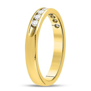 14kt Yellow Gold Womens Round Diamond Single Row Wedding Band 1/4 Cttw