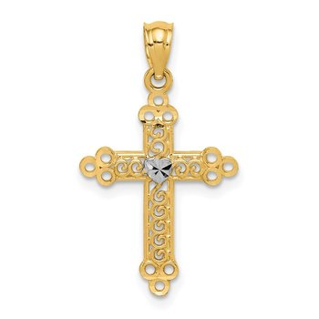 14k w/Rhodium Budded Cross Pendant