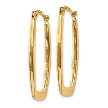 14k Polished 2.25mm Rectangle Hoop Earrings