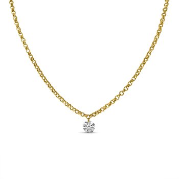 "14K Yellow Gold .15 Single Diamond Necklace with 18"" Rolo  Chain"