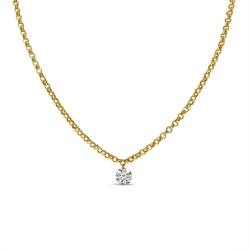"Color Merchants 14K Yellow Gold .15 Single Diamond Necklace with 18"" Rolo  Chain"