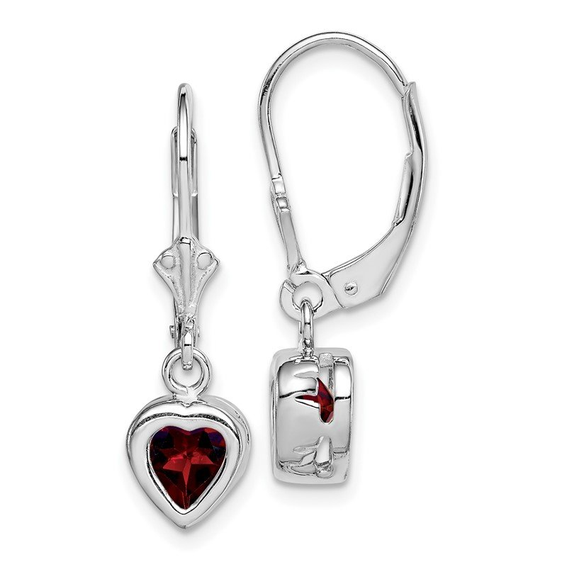 Quality Gold Sterling Silver Rhodium 6mm Heart Garnet Leverback Earrings