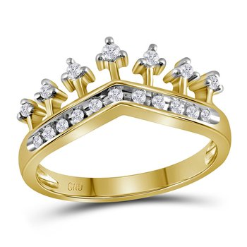 10kt Yellow Gold Womens Round Diamond Crown Tiara Band Ring 1/5 Cttw