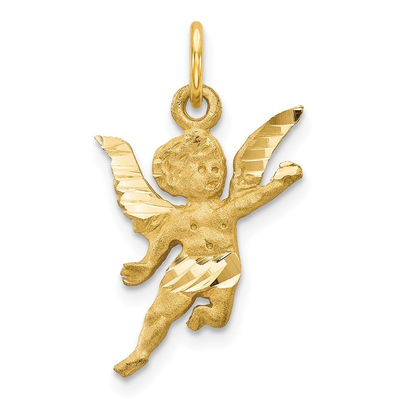 Quality Gold 14k Diamond-cut Angel Charm