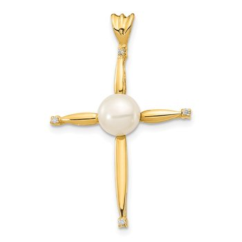 14K 6-7mm White Button FW Cultured Pearl .02ct Diamond Cross Pendan
