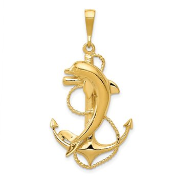 14k Solid Polished Anchor with Dolphin Pendant