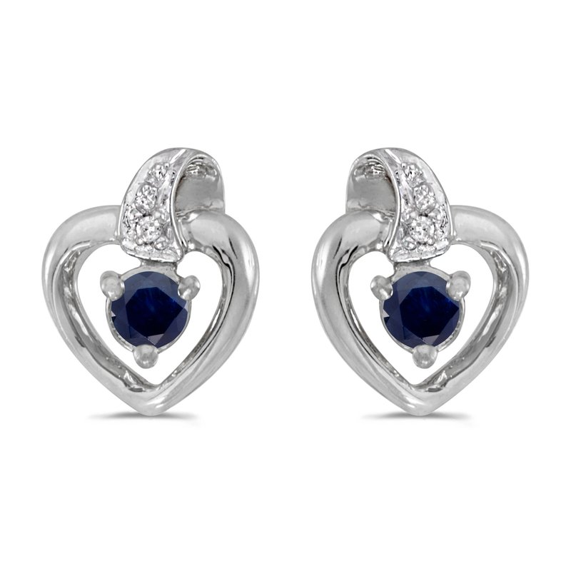 14k White Gold Round Sapphire And Diamond Heart Earrings