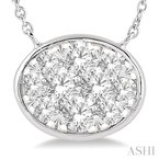 Crocker's Collection oval shape lovebright essential diamond necklace