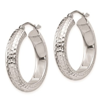 Sterling Silver Rhodium-plated D/C 5x25mm Hoop Earrings