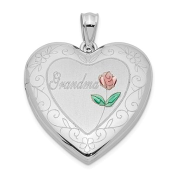Sterling Silver Rhodium-plated 24mm Enameled & D/C Grandma Heart Locket