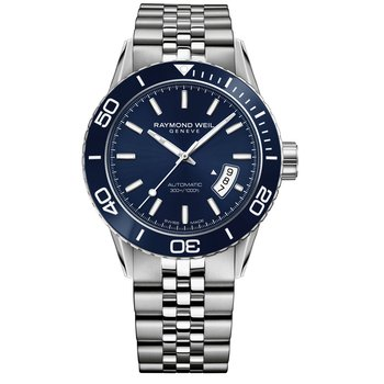 Men's Automatic Diver Watch, 42mm Steel on steel, blue dial