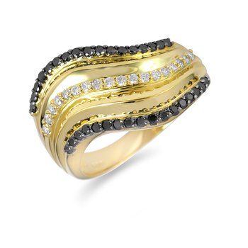 14K YG Black and White Diamond Fashion Ring