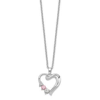 10kw Survivor Clear/Pink Swarovski Topaz Heart of Healing Necklace