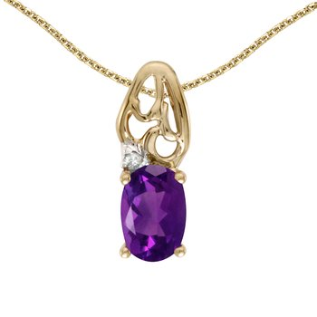 14k Yellow Gold Oval Amethyst And Diamond Pendant