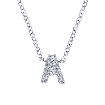 "14K White Gold ""A"" Initial Diamond Necklace"