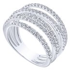 Gabriel Fashion 14k White Gold Layered Wide Band Diamond Fashion Ring