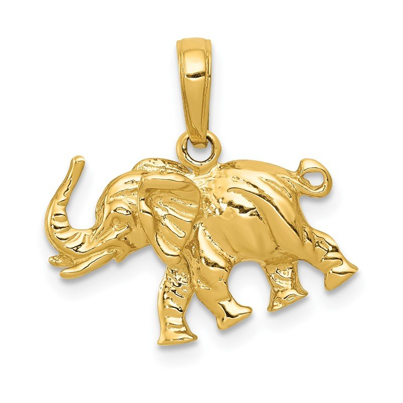 Quality Gold 14k Polished 3-D Elephant Pendant
