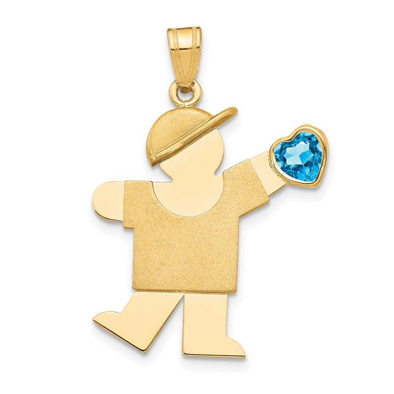 Quality Gold 14k Boy with CZ December Birthstone Charm