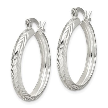 Sterling Silver 4mm Diamond-cut Hoop Earrings