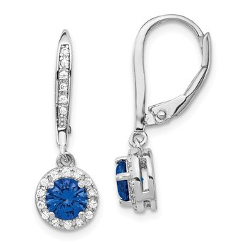 Cheryl M SS Rhodium Plated Created Blue Spinel Leverback Earrings