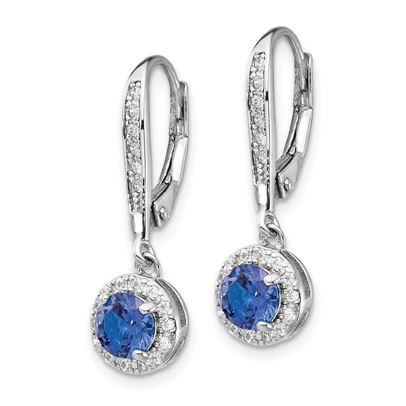 Cheryl M Cheryl M SS Rhodium Plated Created Blue Spinel Leverback Earrings