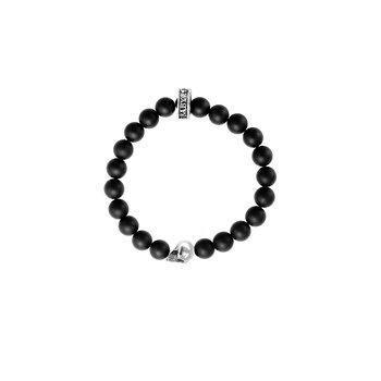 8Mm Black Lava Rock Bracelet W/ Skull Bead