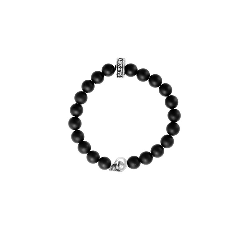 King Baby 8Mm Black Lava Rock Bracelet W/ Skull Bead