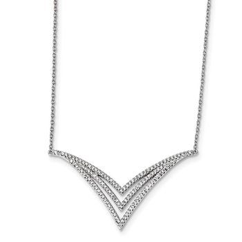 Sterling Silver Rhodium-plated CZ Necklace