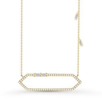 Geometric 14K Gold with round & Baguette Diamonds Pendant 0.28C TW