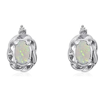 14k White Gold Opal Scroll Diamond Earrings