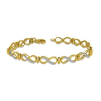 10K YG Diamond Infinity Link Lobster Clasp Bracelet in Prong Setting