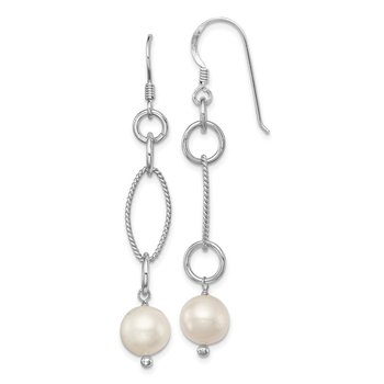 Sterling Silver Rhodium plated FW Cultured Pearl Earrings