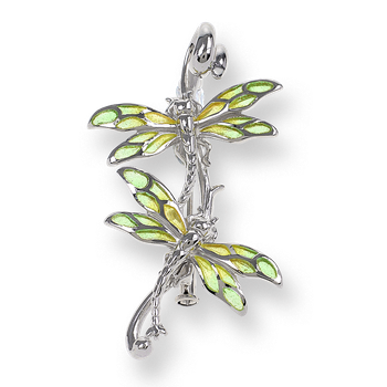 Sterling Silver Dragonfly Brooch-Green