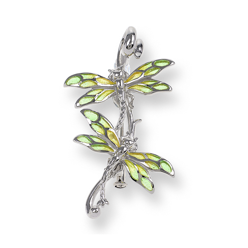 Nicole Barr Designs Sterling Silver Dragonfly Brooch-Green